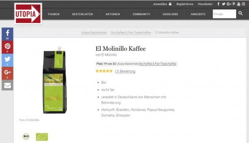 Wir sind in die Utopia.de-Bestenliste für Bio-Kaffee & Fair-Trade-Kaffee aufgenommen worden!